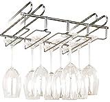 WENKO Portabicchieri salvaspazio per ripiano - per 12 bicchieri, Metallo cromato, 34 x 8 x 25 cm, Argento lucido