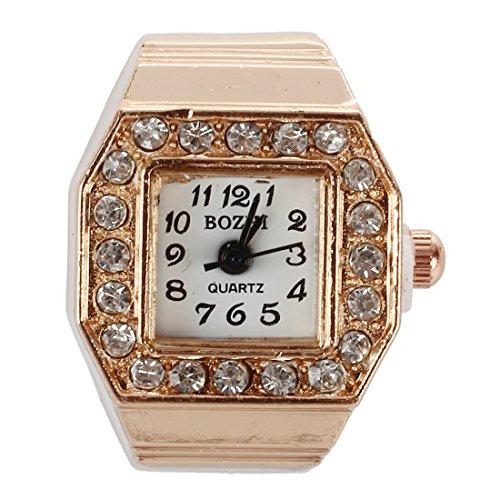 Gesh Reloj de pulsera con esfera cuadrada con purpurina y correa elástica, color cobre