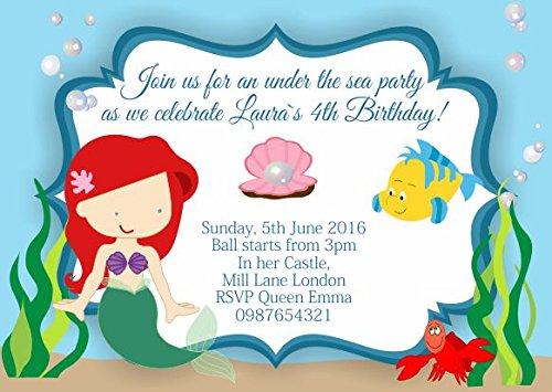 10 x Ariel La Petite Sirène personnalisé enfants Fête d'anniversaire Invitations ou cartes de remerciement