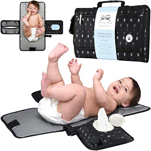 Portable Changing Pad Large   Waterproof Baby Changing Pad Station for Travel with Extra Padding for Comfort & Built-in Pillow; Diaper Changing Pad Portable Detachable with One Hand