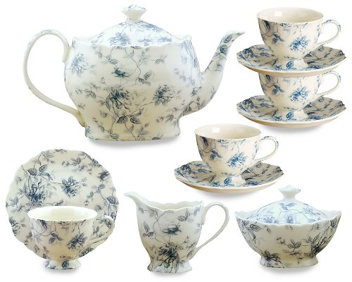 Gracie China Blue Rose Chintz 11-Piece Tea Service, 4-Cup Teapot Sugar Creamer and Four 7-Ounce Cups and Saucers