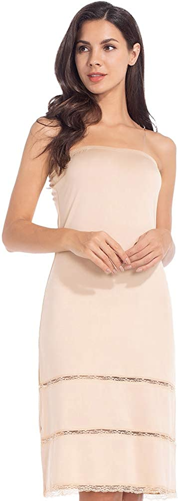 Subuteay Full Slip Dress for Women Tube Top Dress with Invisible Straps Midi Underdress Lace Hem Knee Length