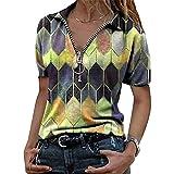 Elesoon Camiseta de verano para mujer, talla grande, geométrica, bohemio, étnico, estampado a cuadros, manga corta, suelta, con cuello en V, C-amarillo, 36