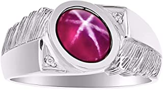 RYLOS Classic Oval Cabochone Color Stone Gemstone & Natural Diamond Ring Set in Sterling Silver .925