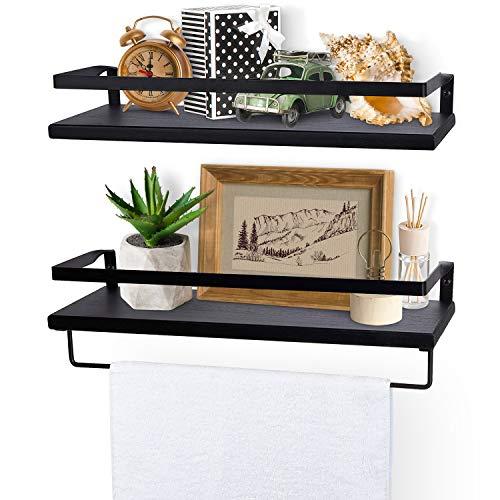 Lyihlou Estantería flotante de pared de madera con toallero, ideal para salón, dormitorio, pasillo, baño, 2 unidades, color negro