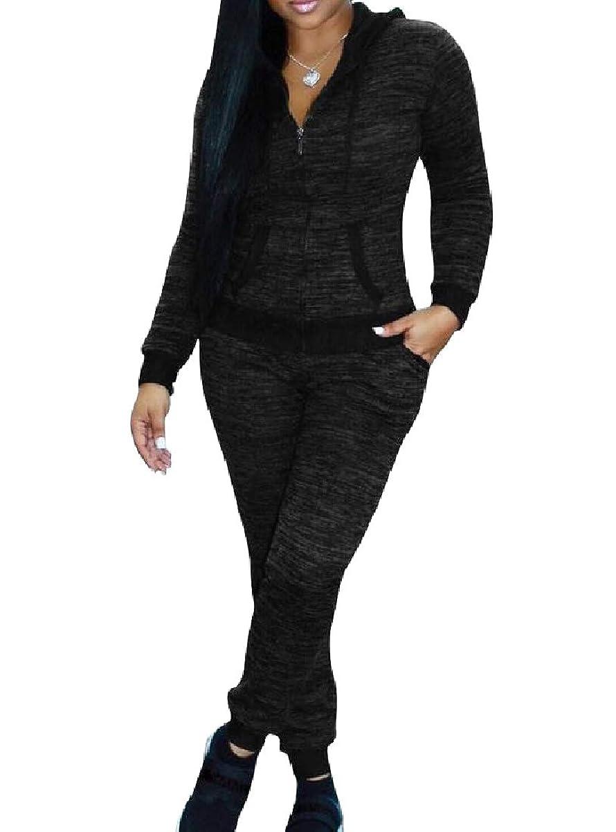 葉巻絶対に統計的Tootess 女性トラックスーツジョグセットフードジッパーコンフォートパーカースウェットパンツセット