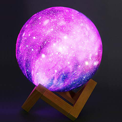 Zermurd Moon Lamp Kids Night Light, Dimmable 3D Printed Galaxy Lamp 16 Colors USB Rechargeable Lunar Lamp Touch & Remote Control 5.9inch Globe Night Light for Baby Kids Friends Birthday