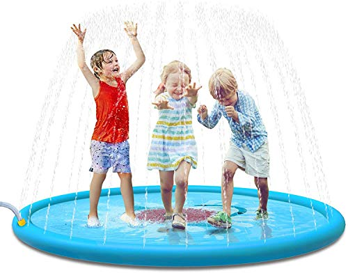JIINN Sprinkler for Kids Toddlers,Splash Pad Kiddie Pool, Outdoor Games Water Mat Toys - Baby Infant Swimming Pool - Fun Backyard Fountain Play Mat 60?? Inflatable Water Toys