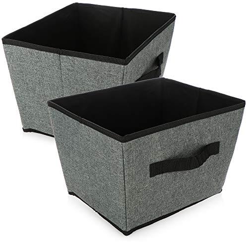 com-four 2X Aufbewahrungsbox - Faltbare Kiste zur Aufbewahrung - Faltbox mit Griff für Kleiderschrank, Kleidung, Bücher, Spielzeug