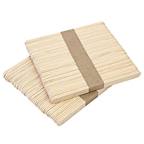 Holztiele, Pflanzenetiketten, Diligencer aus Naturholz, ideal für Kinder, Handwerk, Basteln, Eiscreme-stiele, 100 Stück Holz_65 mm