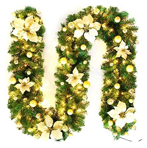 XIAOZSM Flores Artificiales 2.7M LED Árbol de Navidad Artificial Ratán Navidad Rattan Garland Decorativo (Color : Gold, Size : with Lamp)