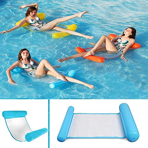 Dirgee Water Hammock, Swimming Pool Inflatable Bed Lounger Lightweight Floating Bed Floating Swing Chair Foldable Swimming Recliner Backrest for A Holiday Water Party (Color : Water Hammock)