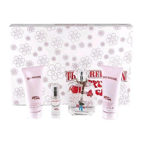 TRUE RELIGION HIPPIE CHIC by True Religion Gift Set for WOMEN: EAU DE PARFUM SPRAY 3.4 OZ & SHIMMERING BODY LOTION 3 OZ & SHOWER GEL 3 OZ & EAU DE PARFUM SPRAY .25 OZ MINI