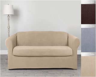 Perfect Fit Serta 2 Piece Stretch Grid Box Sofa Slipcover, Putty