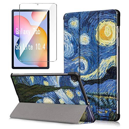 LJSM Custodia + Vetro Temperato per Samsung Galaxy Tab S6 Lite 10.4' P610 / P615 - Pellicola Protettiva, Guscio Supporto Protettiva Tablet Cover in Pelle Flip PU Case - Sky