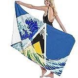 Toalla de playa NE, bandera de Santa Lucía y ola de Kanagawa, colorida, hermosa, para adultos