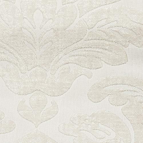Deshome Alena Giglio - Pregiato Tessuto a metro Jacquard con disegni Floreali h 140 arredamento divani, cuscini, tende (Bianco, 5 metri)