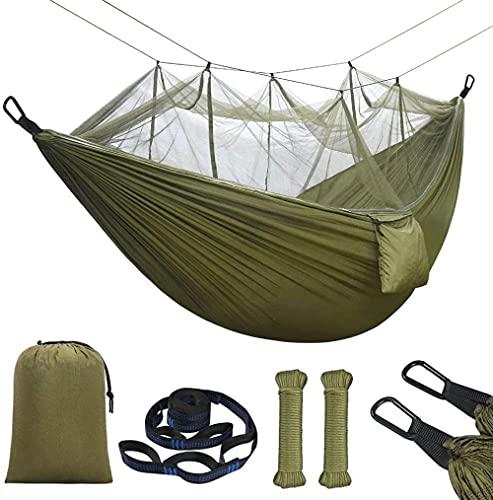 Hamaca con Mosquitera 275x140cm Hamaca Doble Ultraligera Viaje Camping Nylon Paracaídas Carga 300 kg con Bolsa de Transporte Correas y Mosquetones para Balcón Jardín Playa