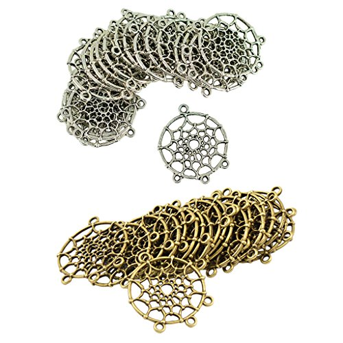 P Prettyia 40pcs Breloques Forme Attrape-rêves Pendentif de Boucle d'oreille Charmes Résultat de Bijoux Collier Bracelet