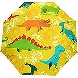 EW-OL Dinosaurier Gelb Regenschirm Winddicht Regen Automatisch Öffnen Schließen Falten Reisen Anti-UV Sonnenschirme