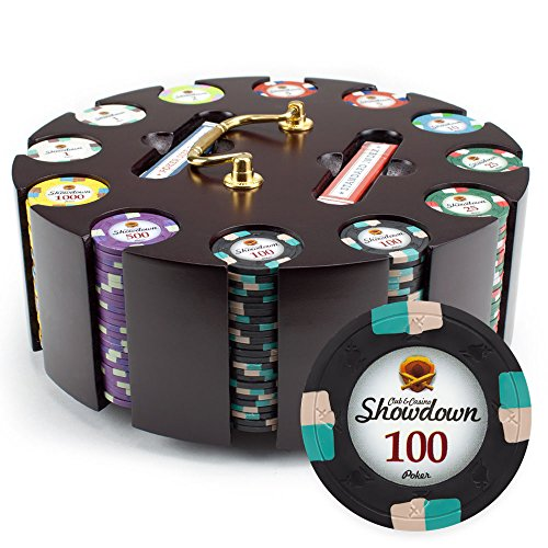 Claysmith Gaming 300ct Showdown Poker Chip Set in Wooden Carousel Case, 13.5g Heavyweight Clay Composite