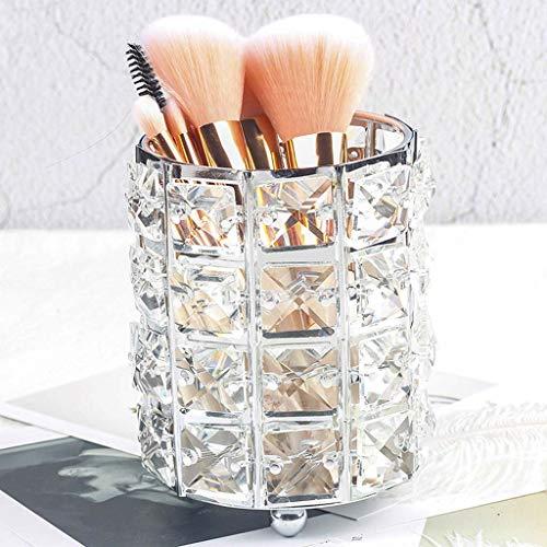 Yxsd Métal Maquillage Brush Tube De Rangement Crayon À Sourcils Maquillage Organisateur Perle Cristal Bijoux Boîte De Rangement (Color : Silver)