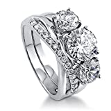 BERRICLE Rhodium Plated Sterling Silver Round Cubic Zirconia CZ 3-Stone Infinity Engagement Wedding Ring Set 3.93 CTW Size 9.5