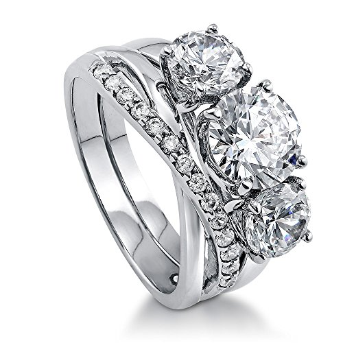 BERRICLE Rhodium Plated Sterling Silver Round Cubic Zirconia CZ 3-Stone Infinity Engagement Wedding Ring Set 3.93 CTW Size 5.5
