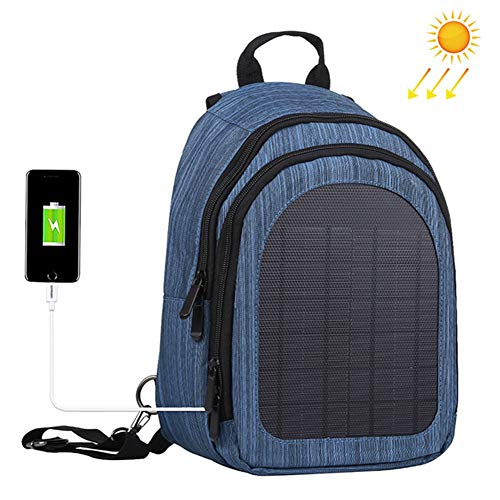 WNTHBJ 5V Solar rugzak, oplaadbare enkele rugzak, schoudertas, ritssluiting, borstzak, paar, reis-rugzak, outdoor 5 V/2,1 A Dual USB-laadaansluiting (1 stuks)