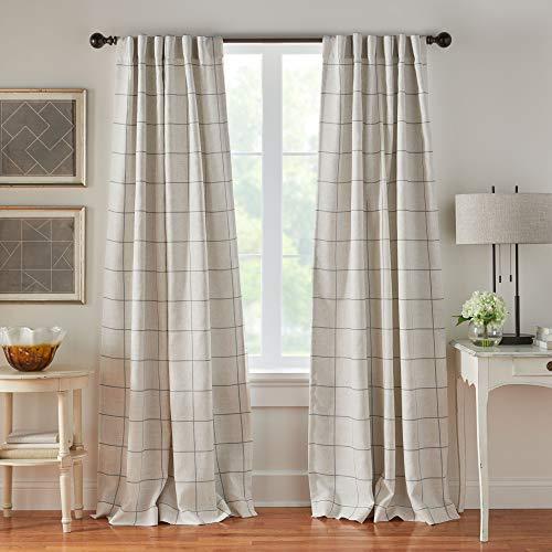 "Elrene Home Fashions Brighton Windowpane Plaid Grid Blackout Window Curtain Panels/Drapes for Living, Bedroom, Dining Room, 52""x95"" (1, Gray"