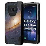 for Galaxy S8 Active, Galaxy S8 Active Case, Capsule-Case Hybrid Fusion Dual Layer Shockproof Combat Kickstand Case (Black) for Samsung Galaxy S8 Active SM-G892A - (Space Milkyway)