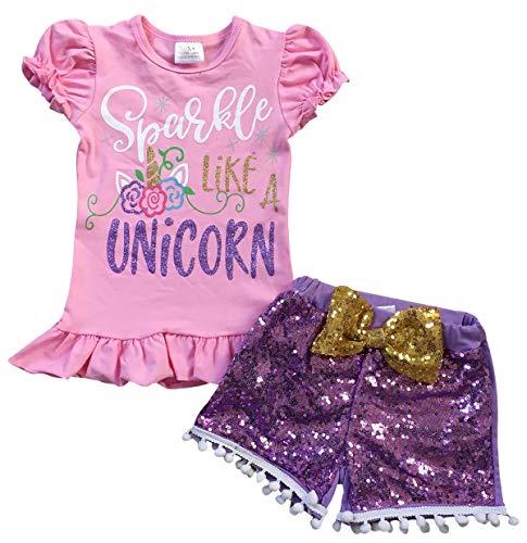 Little Girls' 2 Pieces Short Set Unicorn Tank Tops Glitter Shorts Outfit Set Pink Purple 5 L (P501331P)