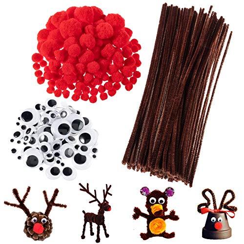 Pfeifenreiniger Braun zum Basteln Set, 100 Stück Pfeifenputzer Chenille Draht, 150 Stück Rote Pom Poms, 150 Stück Wackelaugen Selbstklebend für Deko und Weihnachten Rentieren Bastelzubehör Kinder