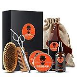 Salandens kit para Cuidado de Barba 7 en 1 Crecimiento de la Barba incluye 100% Natural Aceite, Bálsamo, Cepillo, Tijeras, Peine, Moldeador y Bolsa de Arpillera