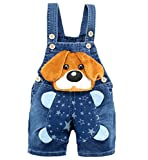 KIDSCOOL SPACE Kleine Gelbe Ohren Süßer Hund Sommer Jeans Shortalls Blau, 18-24 Monate