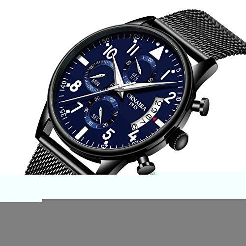 DSNGZ Reloj de Pulsera Nuevo Reloj Digital Minimalista de Moda para Hombre Reloj Negro Shell Silver Font Blue Mesh Belt