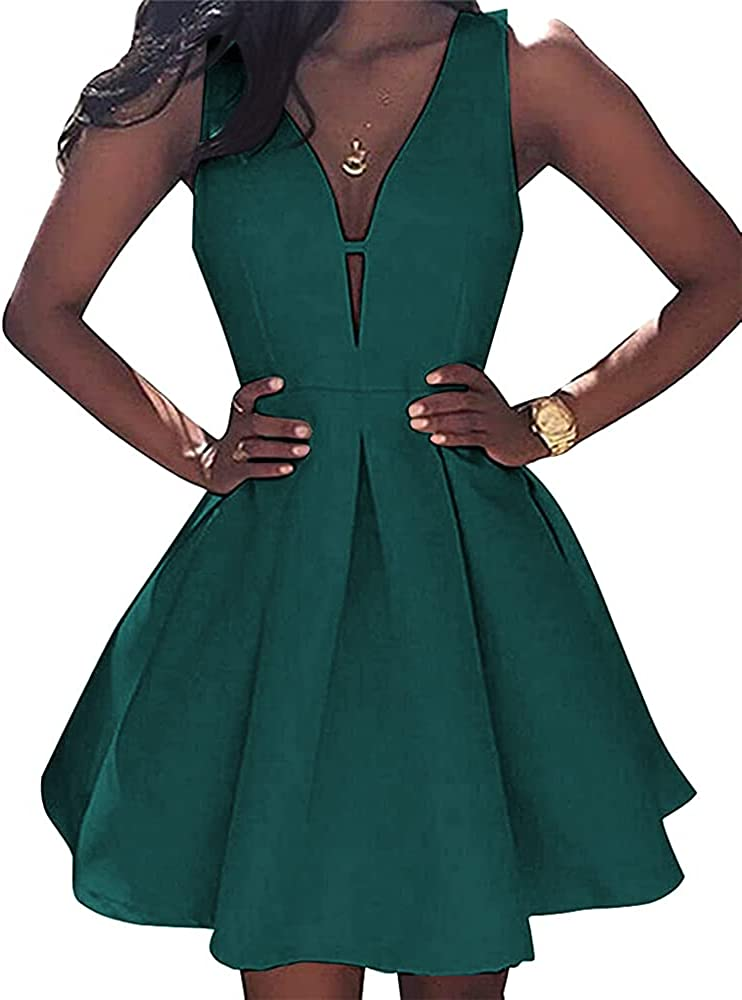 DFDG Satin V Neck Homecoming Dresses for Teens Short with Pockets Cocktail Swing Party Dress CM024
