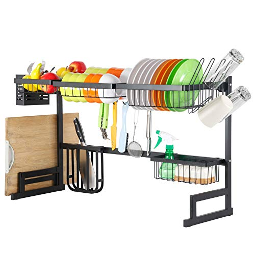 SKOLOO Over Sink Dish Drying Rack Adjustable Stainless Steel Above Sink Dish Rack Over Counter Dish Drying Rack Kitchen Drainage Rack Organizer