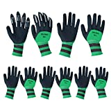 Gardening Gloves for Women/Men, 5 Pairs Breathable Rubber Coated Garden Gloves, Touch Working Gloves Screen Breathable Flexible Durable,Outdoor Protective Work Gloves fits Most