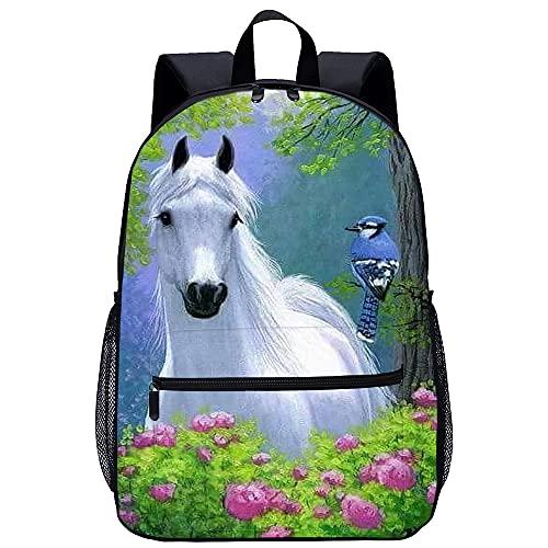 Mochila escolar para adolescentes caballo blanco Mochila unisex con estampado 3D, mochila para niños, mochila para niños, mochila deportiva, mochila para niños, mochila escolar para niños y niñas