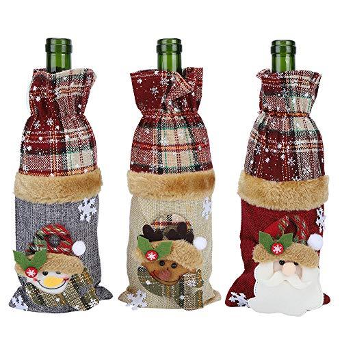 BOTEGRA Bolsas De Regalo para Botellas, 3 Piezas Cubiertas De Vino De Lino Vestidos Bolsas De Vino con Patrón De Cuadrícula Práctico para Decoraciones De Mesa Navideñas