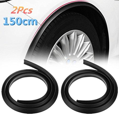 Maso - 2 protectores para guardabarros de goma universales para coche, 1,5 m, color negro