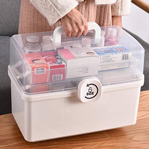 N-B Home Tragbare Erste-Hilfe-Box Aufbewahrungsbox Kunststoff Multifunktionale Familien-Notfallbox mit Handgriff Medizinbox