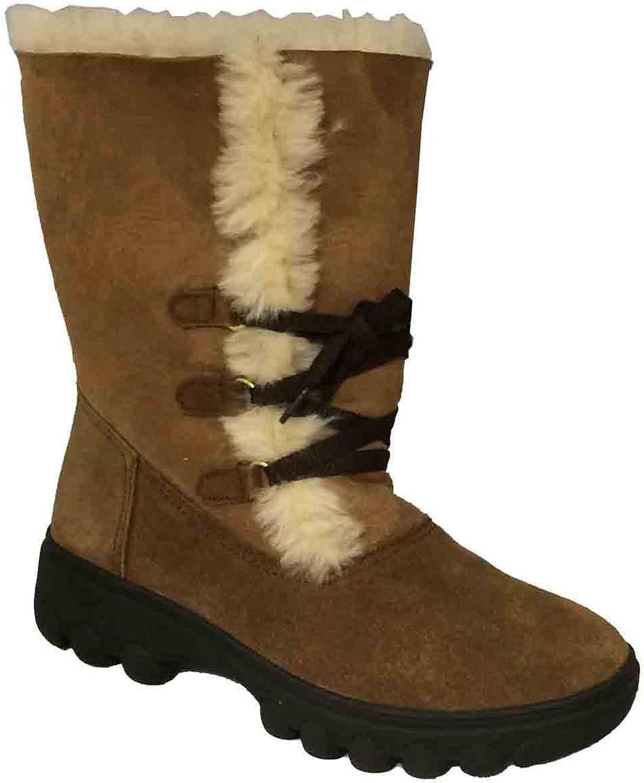 RJ's Fuzzies Women's Chestnut Sheepskin pinklita Boots