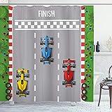 Lunarable Jungen Zimmer Duschvorhang, Car Race Formel One Automobiles Wettkampf Gewinner Champion Speed Team Grafik Stoff Badezimmer Decor Set mit Haken, 177,8 cm, Mehrfarbig