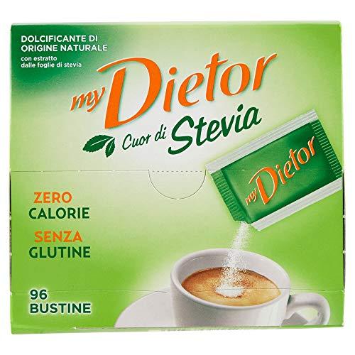 Dietor - Mydietor Cuor Di Stevia Dolcificante Naturale Con Estratto Di Stevia 0 Kcal, Senza Glutine - Box Da 96 Bustine