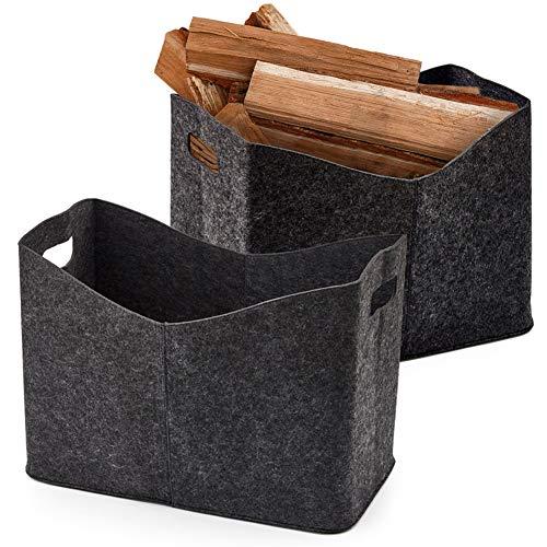 EZOWare haardhouttas XL van vilt voor hout, kranten, brandhout - vilten tas afmetingen - set van 2, 54 x 30 x 39 cm