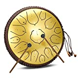 Aoitoy Tambores metálicos de Trinidad y Tobago 14 Pulgadas 15 Notas Tambor de Lengua de Acero Percusión Instrumento, Tambor de Lengüetas, Yoga, Meditación y Relajación (Color : G)