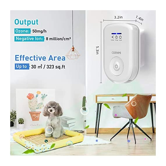 Air purifiers plug in for home, mini odor eliminator丨ozone negative ion dual function丨ionizer to remove smoke pet toilet… 7 🍃2-in-1 pluggable air purifier: cornmi air purifier has a built-in ozone and negative ion generator. Ozone has a strong oxidative decomposition ability, and negative ions can absorb dust. The combination of these two functions can effectively eliminate pet odor, secondhand smoke and kitchen oil fume, allowing you to enjoy natural fresh air at home. 🍃ozone deodorization function: the deodorizer can achieve the purpose of comprehensive and efficient cleaning by short-term releasing low-concentration o₃. O₃ has strong permeability, diffusibility and decomposition ability, which can effectively eliminate harmful substances and smells in the air. 🍃anion purification function: the air ionizer can produce anion, combine with the dust that are positive ions in the air and sink to the ground, avoiding the danger of inhaling floating objects. And achieve the removal of cigarette smoke, oil fumeand other particles matter. Effectivelyrefresh the air and improve the quality of sleep.