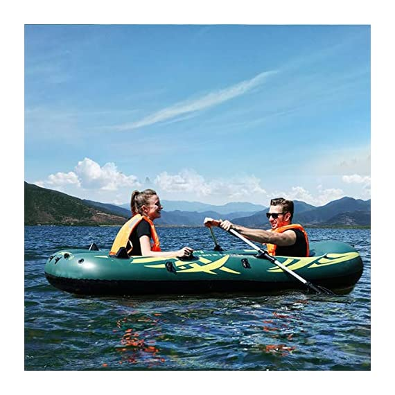 Yocalo inflatable boat series,raft inflatable kayak, fishing boat kayak,2,3,4 person boat with aluminum oars, cushion… 5 ❀ dimension: length 106. 3', width 55. 1 ' and height 17. 7',weight 22lb,age grading:6+ ❀ safety & environmental protection--constructed with super durable 0. 6mm pvc environment-friendly materials, the boat is comfortable and durable. ❀ 4 independent air chambers with valves; boston valve, motor mount fittings buckle. Included cushion, rope,aluminum oars,repair patch and hand pump.